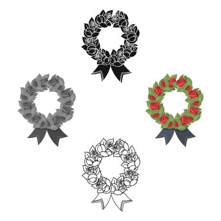 Icona di corona funebre nello stile del fumetto isolato su priorità bassa bianca. Illustrazione di stock di simbolo di cerimonia funebre. Vettoriali