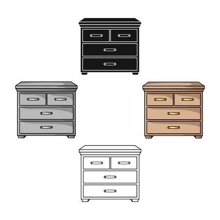 Wooden cabinet with drawers icon in cartoon style isolated on white background. Furniture and home interior symbol stock vector illustration.