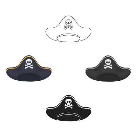 Pirate hat icon in cartoon style isolated on white background. Hats symbol stock vector illustration. Illustration