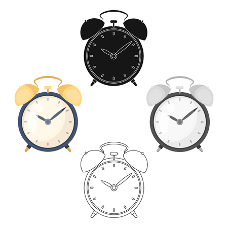 Bedside clock icon in cartoon style isolated on white background. Sleep and rest symbol stock vector illustration.