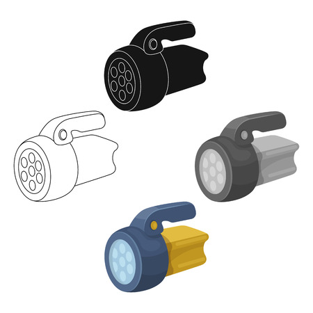 Flashlight.Tent single icon in cartoon style vector symbol stock illustration . Illustration