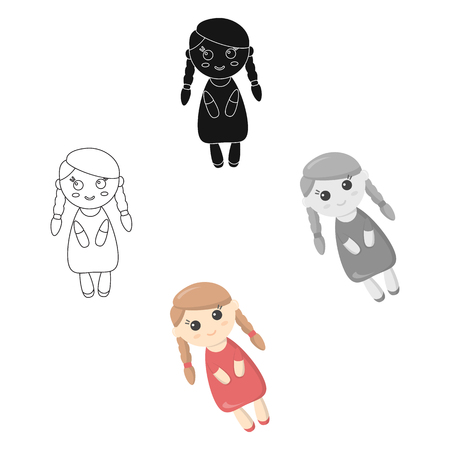 Doll cartoon icon. Illustration for web and mobile design.