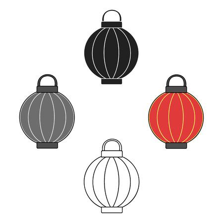 Korean lantern icon in cartoon style isolated on white background. South Korea symbol stock vector illustration. Illustration