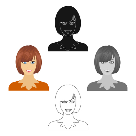 The face of a woman with a hairdo. Face and appearance single icon in cartoon style vector symbol stock illustration web. 矢量图像
