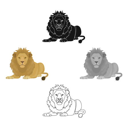 A lion, a wild and ferocious predator. Leo, the king of beasts single icon in cartoon style vector symbol stock illustration web. Ilustrace