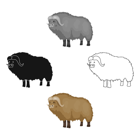 Muskox of stone age icon in cartoon style isolated on white background. Stone age symbol stock vector illustration.  イラスト・ベクター素材