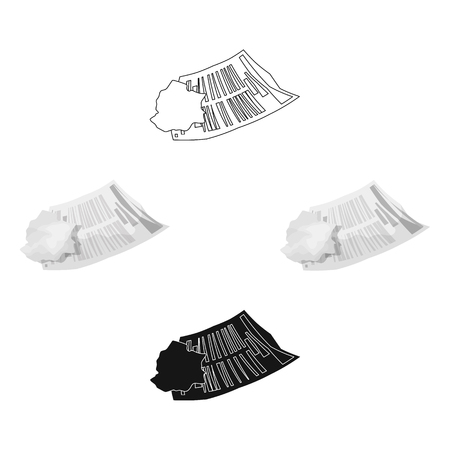 Crumpled paper icon in cartoon style isolated on white background. Trash and garbage symbol stock vector illustration.