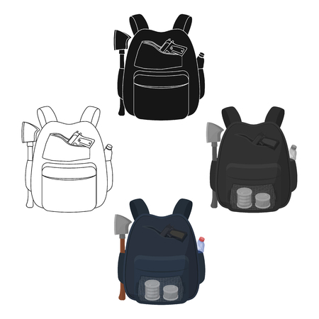 Backpack, single icon in cartoon style.Backpack, vector symbol stock illustration web. Illustration
