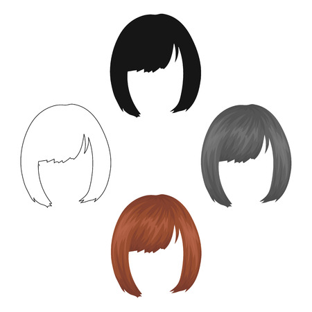 Square.Back hairstyle single icon in cartoon style vector symbol stock illustration .