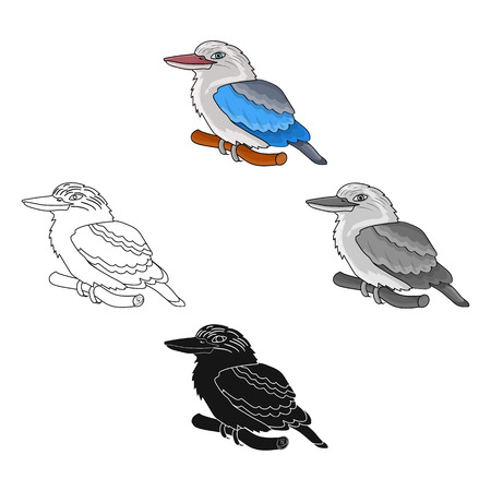 Kookaburra sitting on branch icon in cartoon style isolated on white background. Australia symbol stock vector illustration.