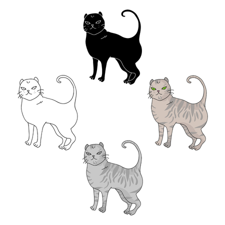 British Shorthair icon in cartoon style isolated on white background. Cat breeds symbol stock vector illustration.