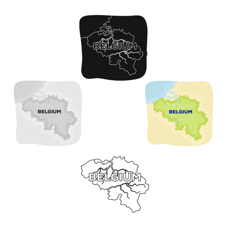 A fragment of the map of Belgium.The dark Belgian wolf. Belgium single icon in cartoon style vector symbol stock illustration.  イラスト・ベクター素材