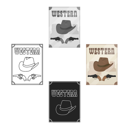 Western movie icon in cartoon style isolated on white background. Films and cinema symbol stock vector illustration.
