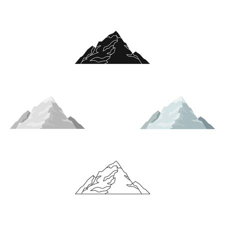 Ice mountain covered with snow.A mountain for skiing.Different mountains single icon in cartoon style vector symbol stock illustration.