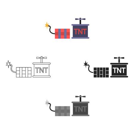 Dynamiet pictogram in cartoon stijl geïsoleerd op een witte achtergrond. Mijn symbool voorraad vectorillustratie. Vector Illustratie