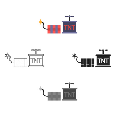 Dynamite icon in cartoon style isolated on white background. Mine symbol stock vector illustration. Stock Illustratie