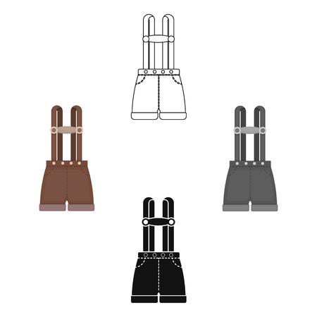 Lederhosen icon in cartoon style isolated on white background. Oktoberfest symbol stock vector illustration.  イラスト・ベクター素材
