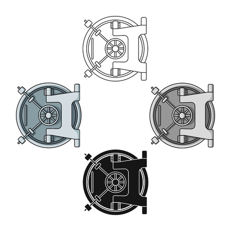 Bank vault icon in cartoon style isolated on white background. Money and finance symbol stock vector illustration.