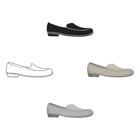Loafers icon in cartoon style isolated on white background. Shoes symbol stock vector illustration.