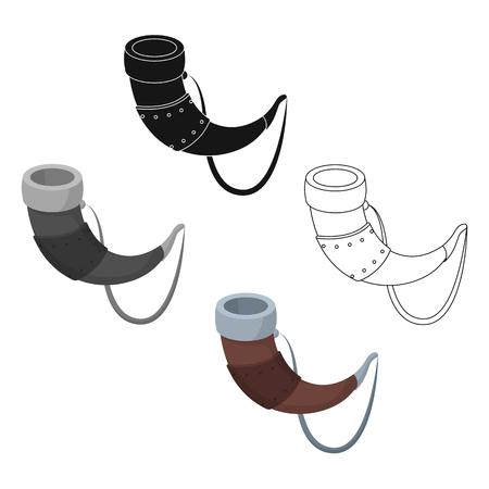 Viking horn icon in cartoon style isolated on white background. Vikings symbol stock vector illustration. Vettoriali