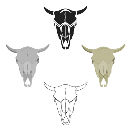 Bull skull icon cartoon. Singe western icon from the wild west cartoon. Illustration