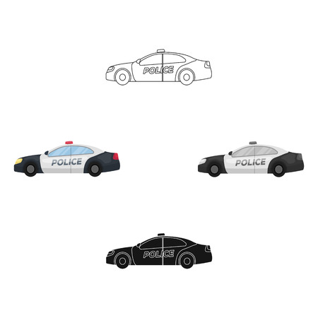 Police car icon in cartoon style isolated on white background. Police symbol stock vector illustration.