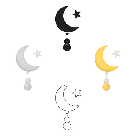 Crescent and Star icon in cartoon style isolated on white background. Religion symbol stock vector illustration. Illustration