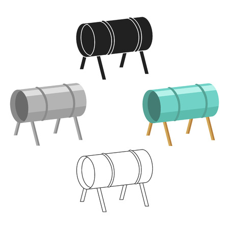 Playground tunnel icon in cartoon style isolated on white background. Play garden symbol stock vector illustration. Stock Illustratie