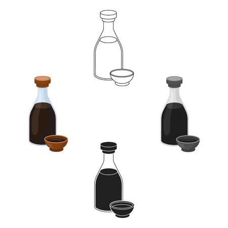 Icono de salsa de soja en estilo de dibujos animados aislado sobre fondo blanco. Ilustración de vector de valores de símbolo de sushi. Ilustración de vector