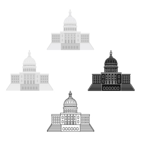 United States Capitol icon in cartoon style isolated on white background. USA country symbol stock vector illustration.