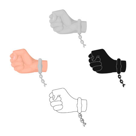 Handcuff on the hand of the criminal, Crime and arrest single icon in cartoon style vector symbol stock illustration web. Illustration
