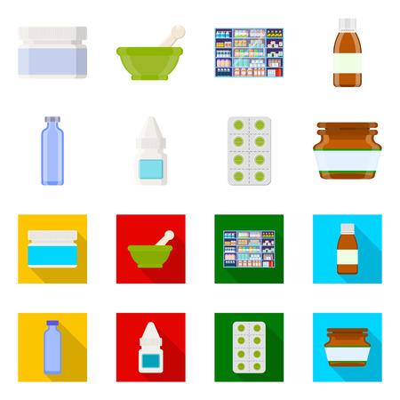 Vector illustration of retail and healthcare icon. Collection of retail and wellness stock symbol for web.