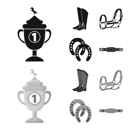 Vector illustration of equipment and riding sign. Set of equipment and competition stock vector illustration.