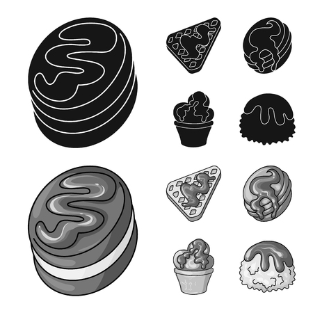 Vector illustration of confectionery and culinary sign. Set of confectionery and product stock vector illustration.