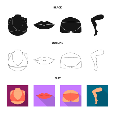 Isolated object of body and part sign. Collection of body and anatomy vector icon for stock.