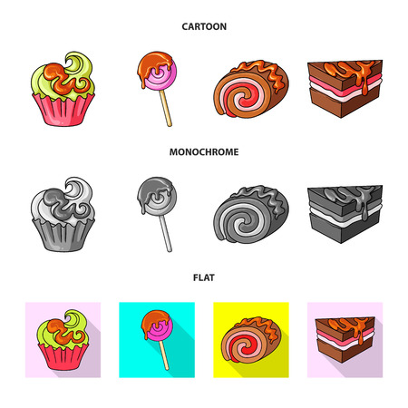 Isolated object of confectionery and culinary symbol. Collection of confectionery and product stock symbol for web. 向量圖像
