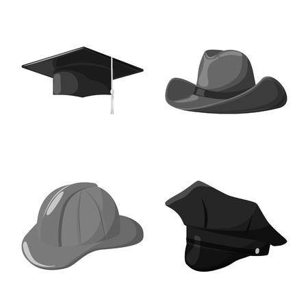 Objeto aislado del símbolo de sombrero y casco. Colección de icono de vector de sombrero y profesión para stock.