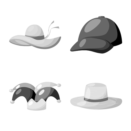 Vector design of hat and helmet sign. Collection of hat and profession stock vector illustration.