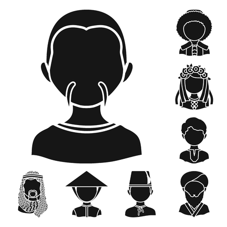 Isolated object of person and culture logo. Set of person and race  vector icon for stock.