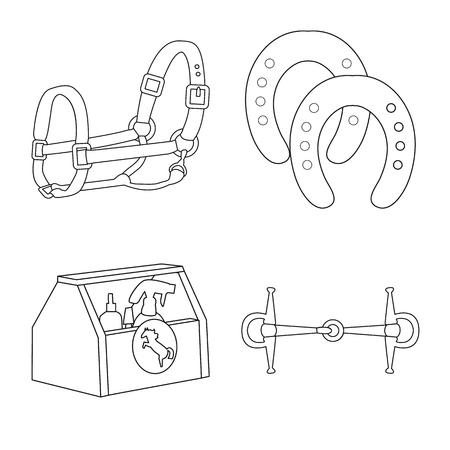 Disegno vettoriale di cavallo e icona equestre. Set di illustrazione vettoriali stock cavallo e cavallo.