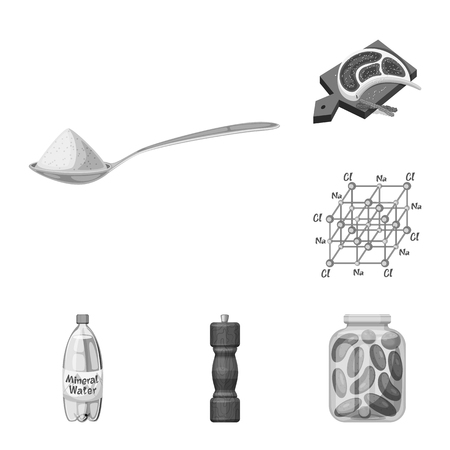 Vector illustration of salt and food icon. Collection of salt and mineral stock symbol for web.