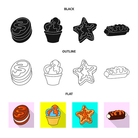 Vector design of confectionery and culinary icon. Set of confectionery and product stock symbol for web.