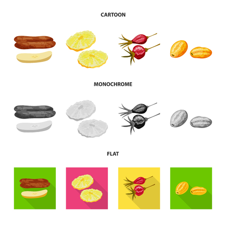 Vector design of food and raw logo. Collection of food and nature stock symbol for web.