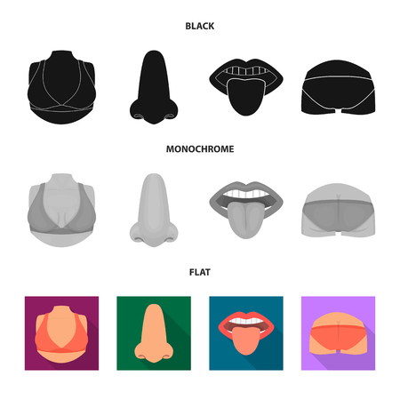 Isolated object of body and part icon. Set of body and anatomy vector icon for stock.
