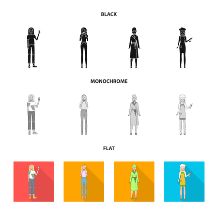 Vector design of posture and mood logo. Set of posture and female vector icon for stock.
