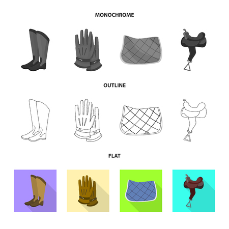 Vector illustration of equipment and riding symbol. Set of equipment and competition stock symbol for web.