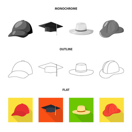 Isolated object of clothing and cap logo. Collection of clothing and beret stock symbol for web. Vettoriali