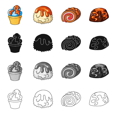 Isolated object of confectionery and culinary symbol. Set of confectionery and product stock symbol for web.