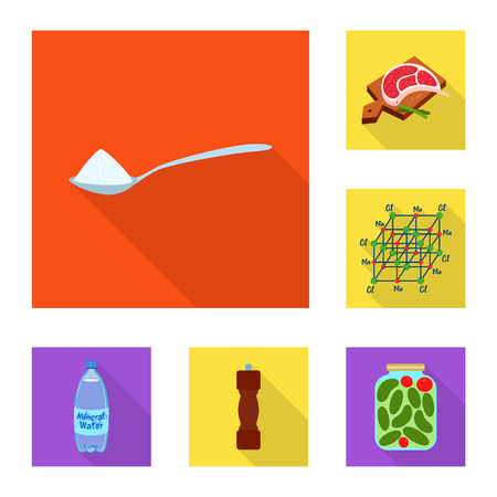 Vector illustration of raw and kitchen symbol. Set of raw and sea stock symbol for web.