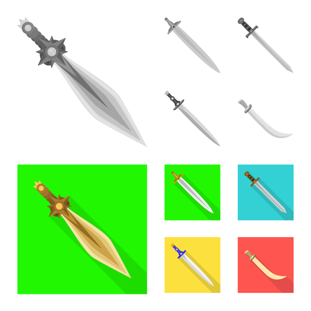 Vector illustration of game  and armor  icon. Set of game  and blade  vector icon for stock.